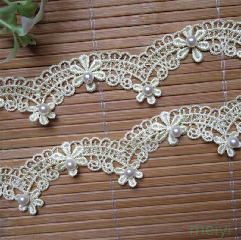 1y flower pearl bridal lace trim ribbon vintage wedding for Craft ribbons and trims