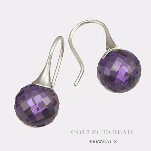Pandora Amethyst Earrings: Authentic Pandora Sterling Silver Amethyst Morning Dew