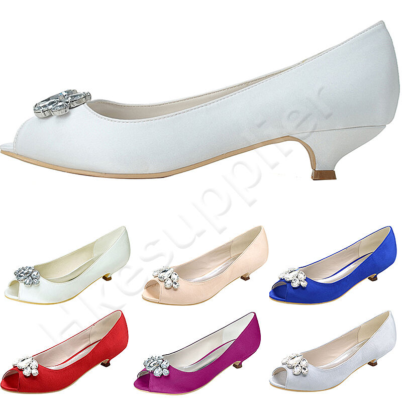 low heel wedding shoes with rhinestones peep toe satin low heels rhinestones wedding shoes 5618