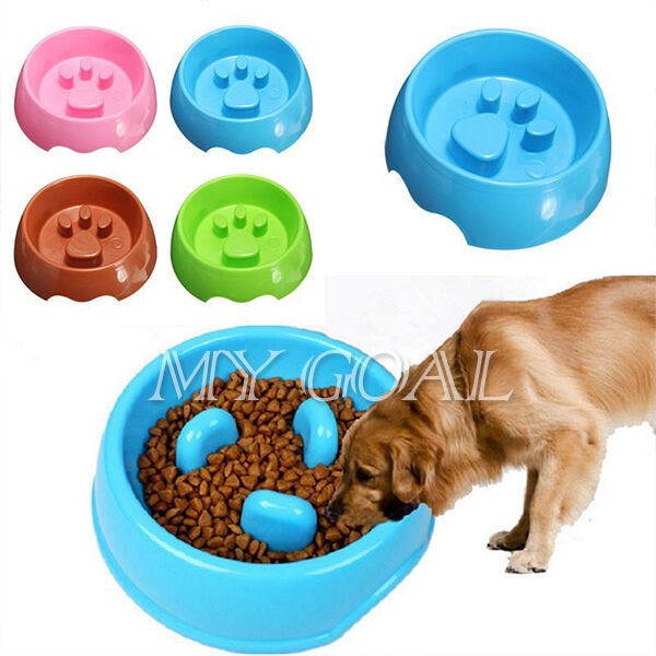 Non Slip Puppy Cat Dog Pet Slow Down Eating Feeder Dish