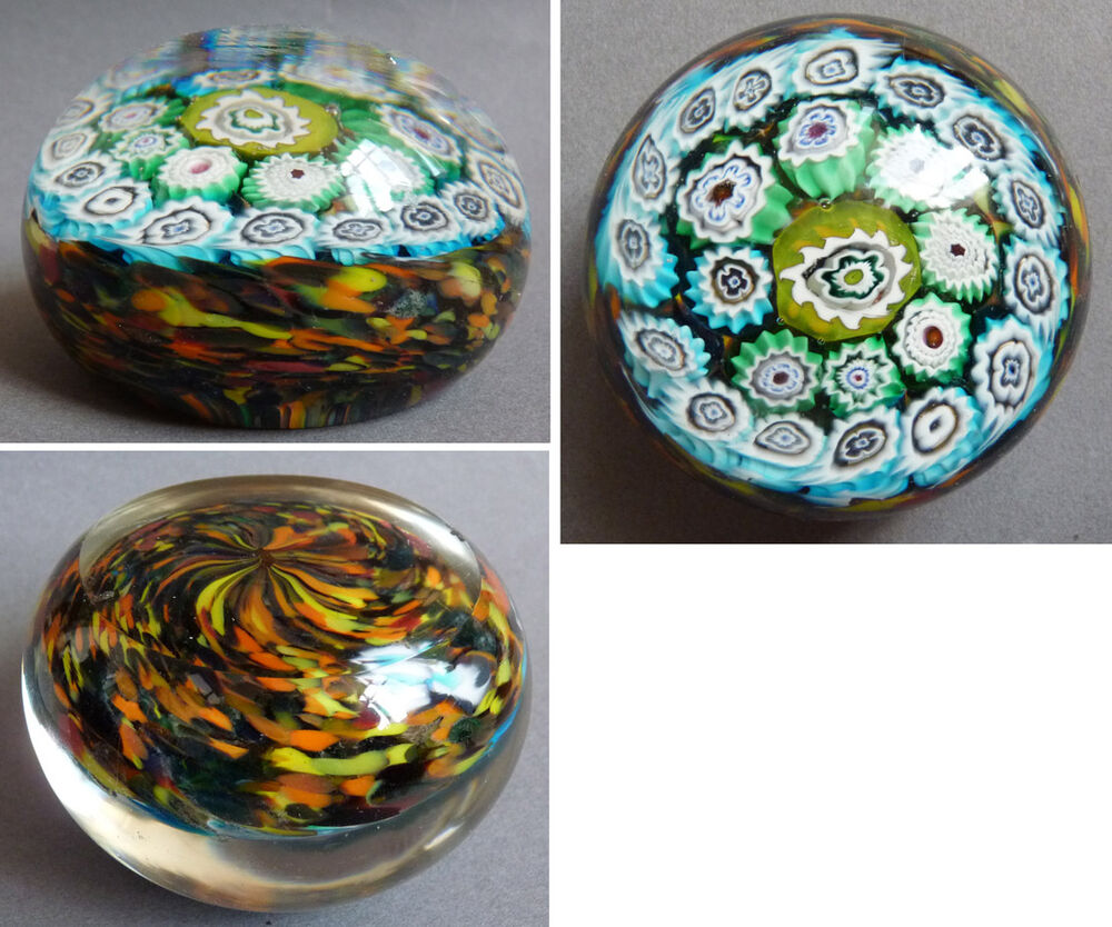 sulfure boule presse papier en verre ancien mille fleurs baccarat murano clichy ebay. Black Bedroom Furniture Sets. Home Design Ideas