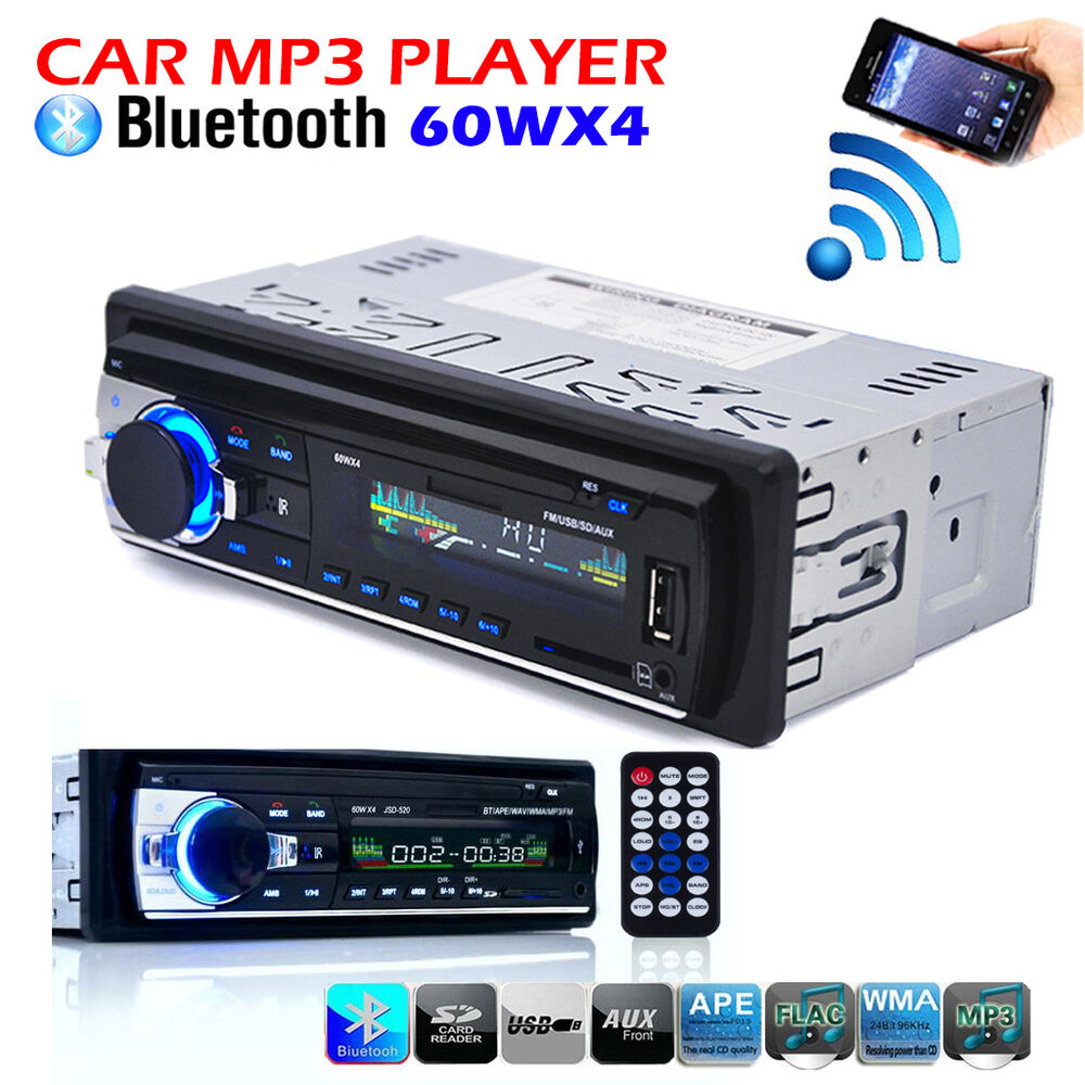 car radio bluetooth 1 din in dash 12v sd usb mp3 aux input. Black Bedroom Furniture Sets. Home Design Ideas