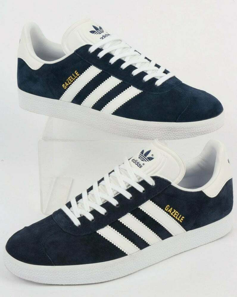 Adidas Gazelle Trainers Solid Grey Red Originals Shoes: Adidas Gazelle Trainers In Navy Blue