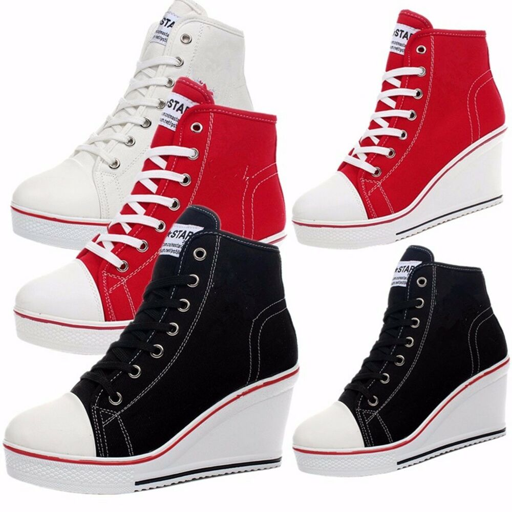 Fashion Women Shoes Canvas High Top Wedge Heel Lace Up ...