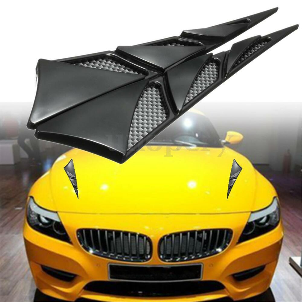 pair abs auto car hood side air intake flow vent cover decorative sticker black ebay. Black Bedroom Furniture Sets. Home Design Ideas