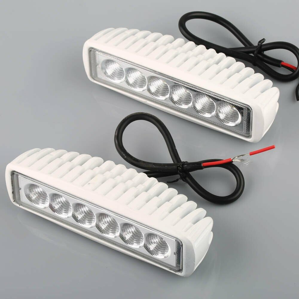 Replace Boat Lights With Led: Set Of 2 White Spreader Led Marine Lights For Boat Flood