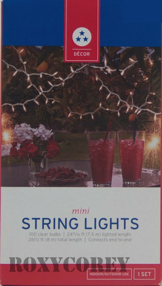 Patriotic String Lights Outdoor : 100 Clear Mini String Lights Holiday Christmas 4th of July Indoor Outdoor NIB eBay
