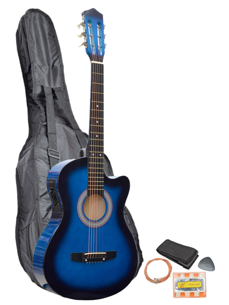 blue acoustic electric cutaway guitar with carry case straps tuner plectrum ebay. Black Bedroom Furniture Sets. Home Design Ideas