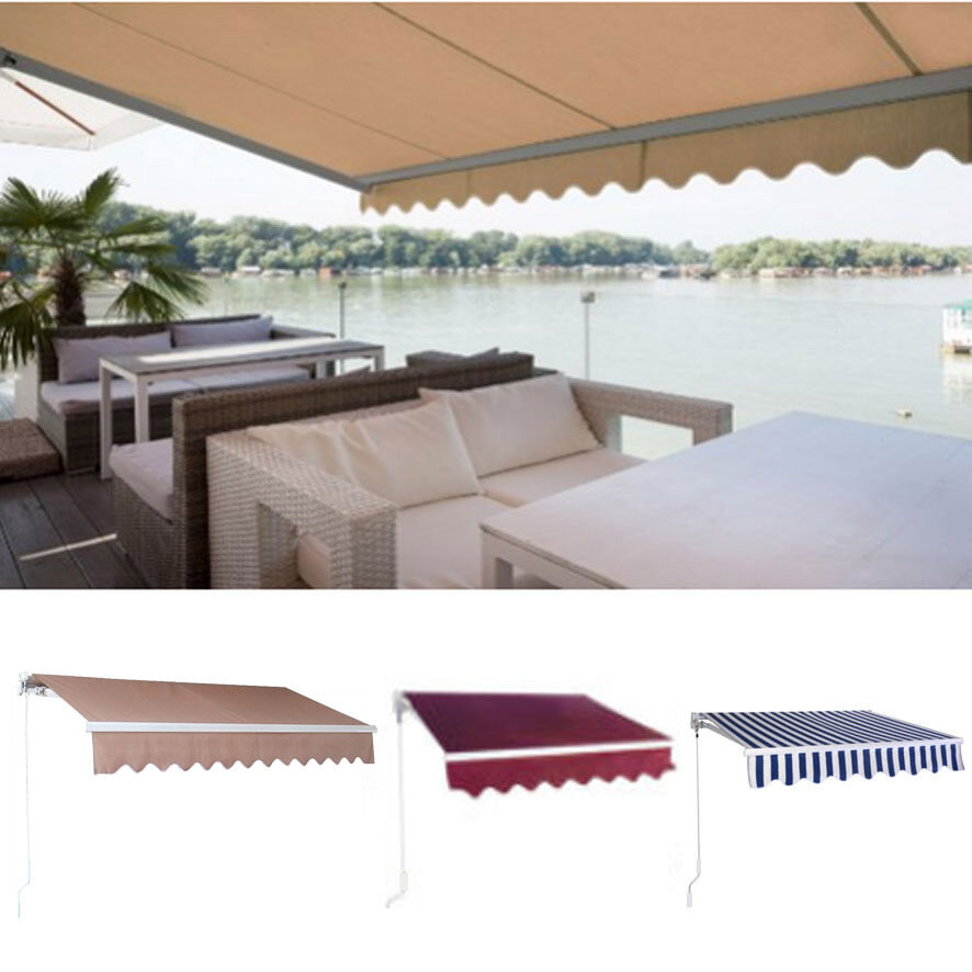 Diy manual patio awning outdoor deck retractable shade sun for Retractable patio awning canopy