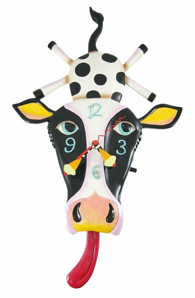 Allen Designs Cow Cream With Tongue Pendulum Childs Kids