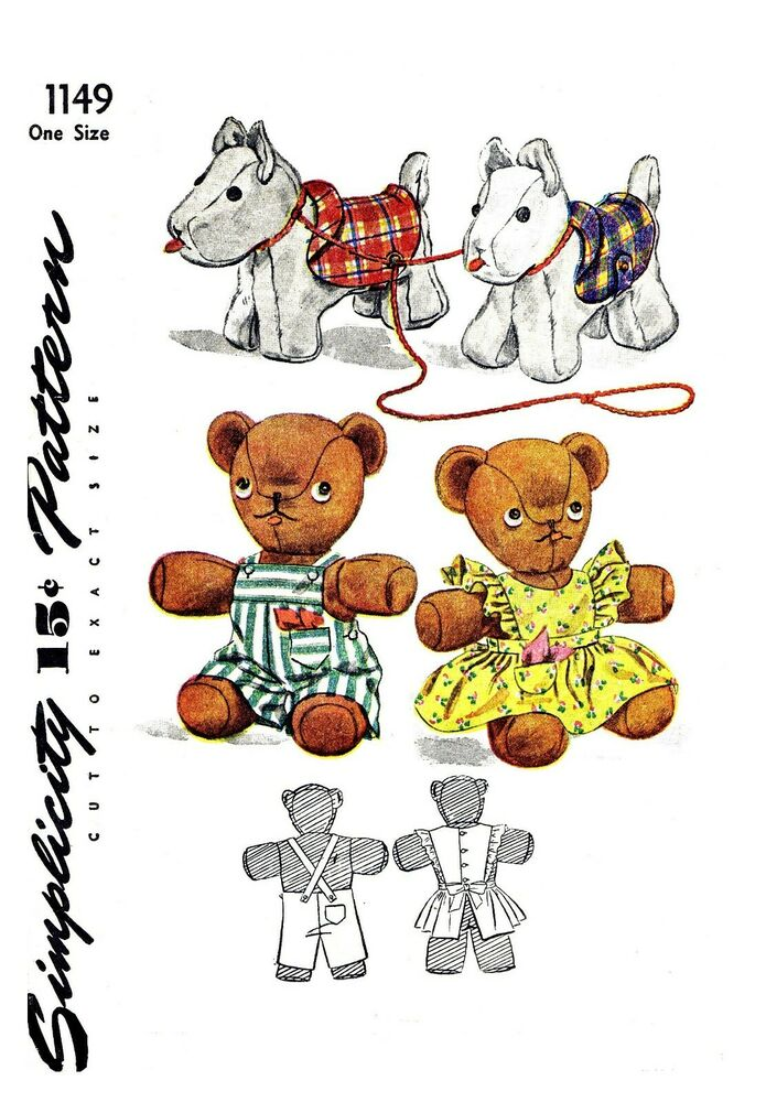 Vintage simplicity stuffed animal dog bear fabric material for Simplicity craft pattern 4993