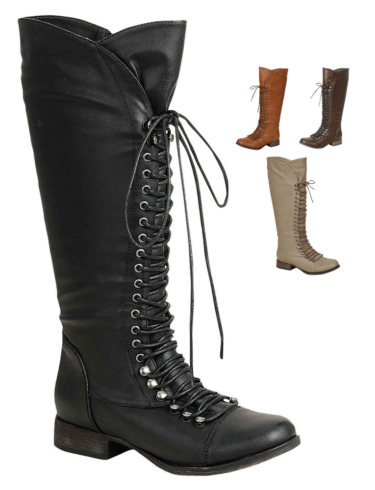 Womens Combat Lace Up Knee High Boots Military Fashion