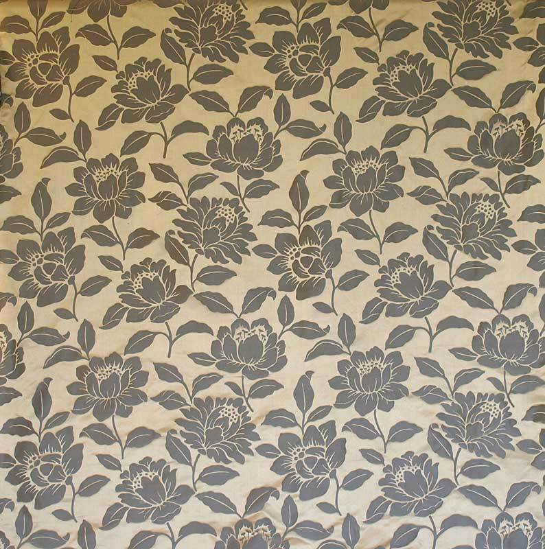 Charcoal Black Gold 100 Silk Damask Drapery Fabric Floral Jacquard 55 Wide Ebay