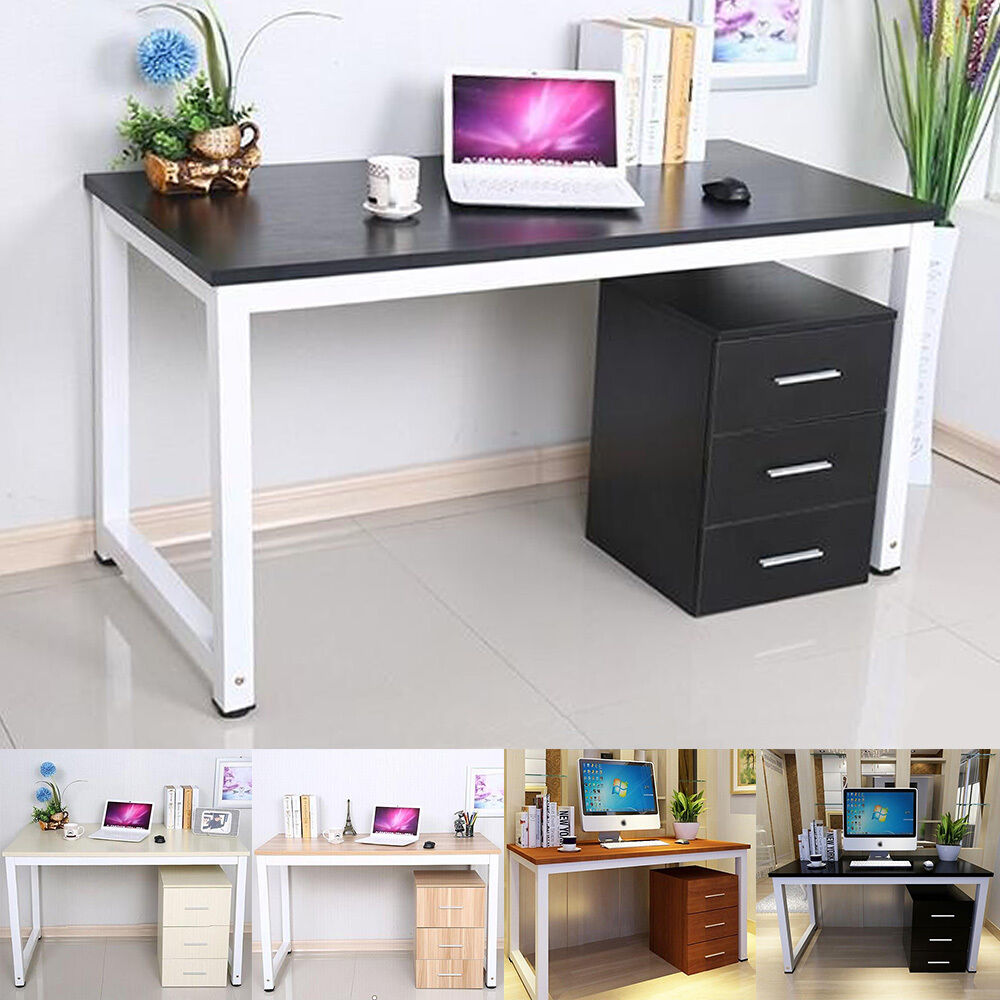 modern walnut wooden metal computer pc home office desk study table bedroom ebay. Black Bedroom Furniture Sets. Home Design Ideas