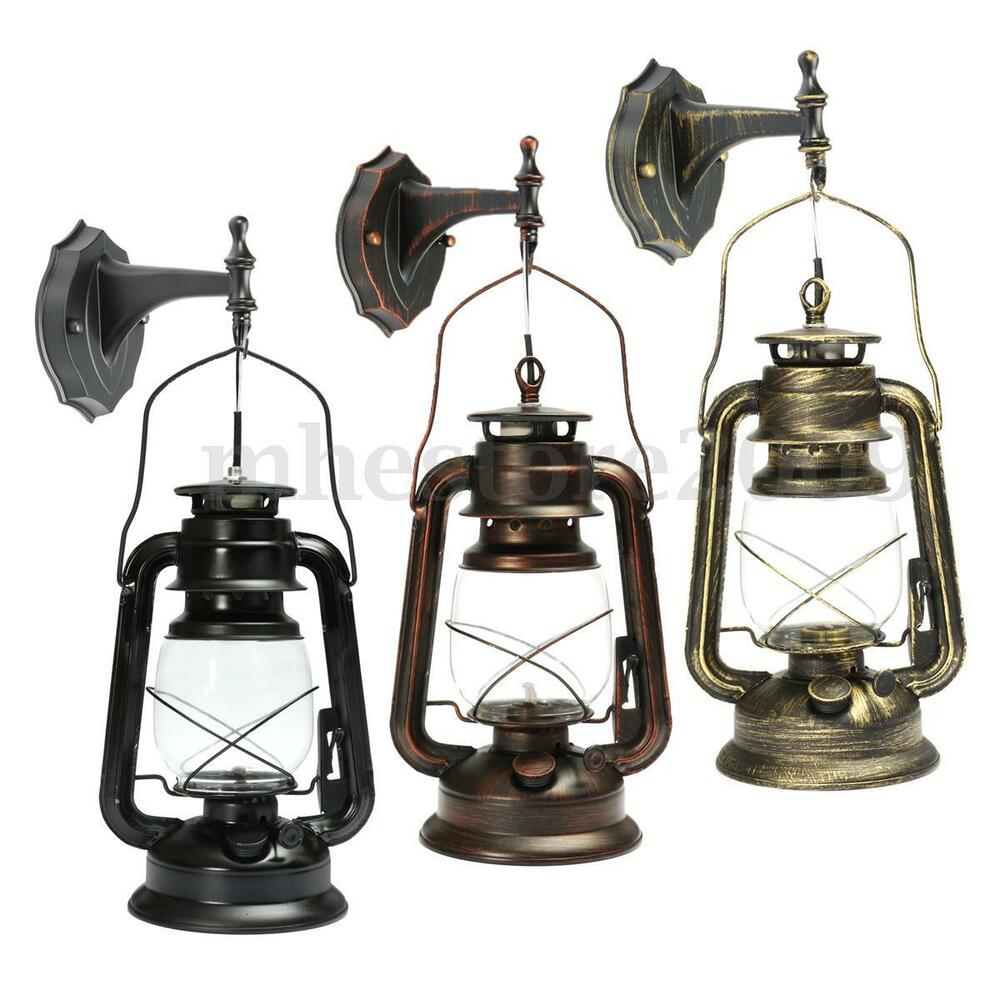 Wall Lantern Light Fixture : Rustic Antique Vintage Style E27 Retro Lantern Wall Lamp Sconce Light Fixture eBay