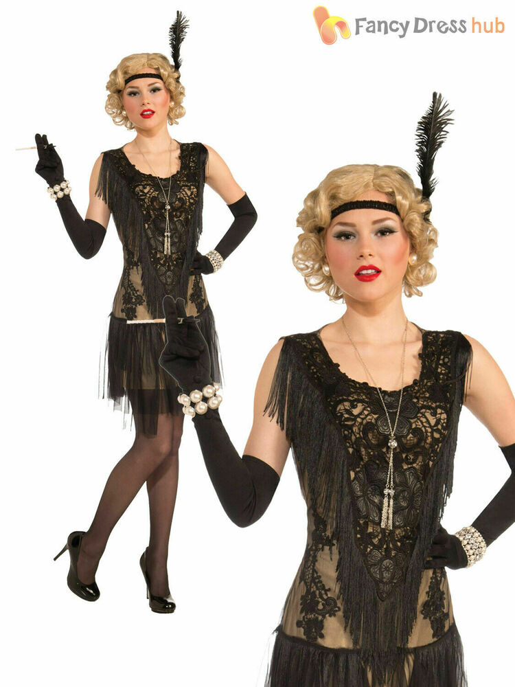 Ladies Deluxe Flapper Costume Womens 1920s Great Gatsby