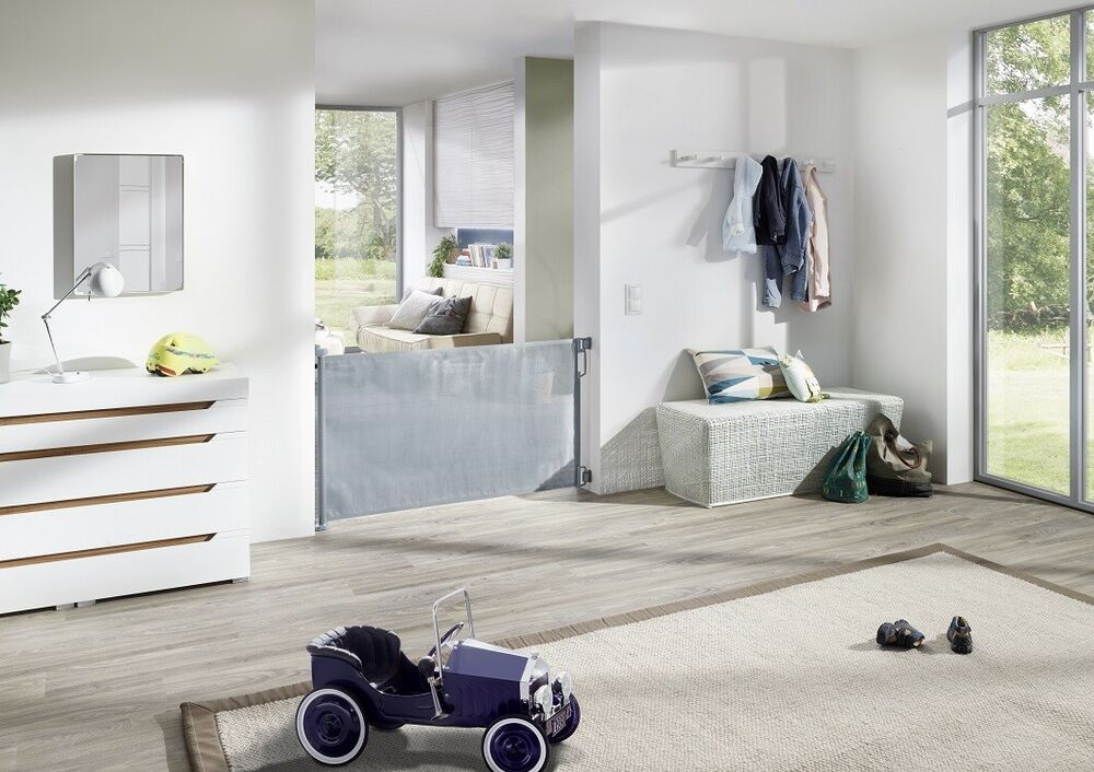 impag rollo t r und treppenschutzgitter h he 85 cm einrollbar 50 140 cm wei ebay. Black Bedroom Furniture Sets. Home Design Ideas