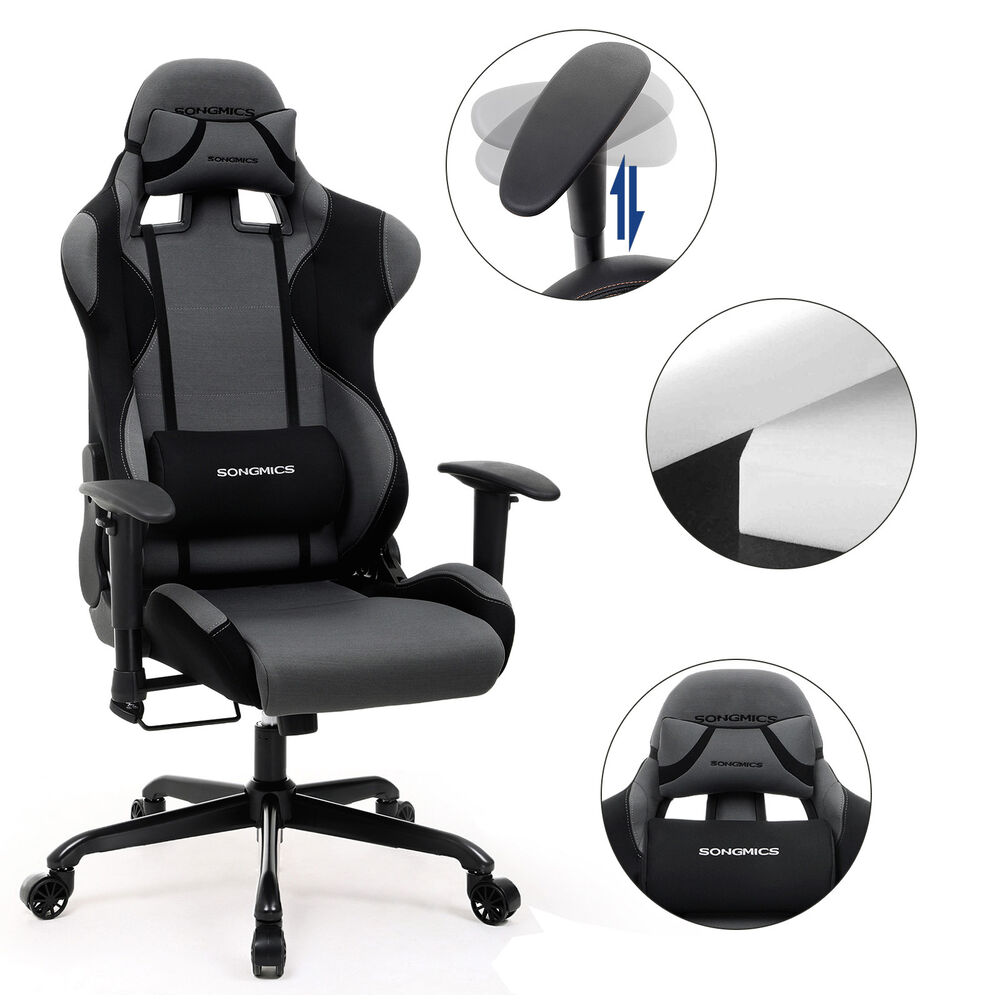songmics b rostuhl chefsessel gaming stuhl schreibtischstuh gaming chair rcg02g ebay. Black Bedroom Furniture Sets. Home Design Ideas
