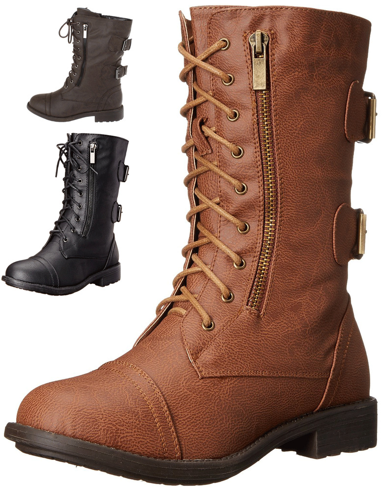 womens combat boots motorcycle lace buckle