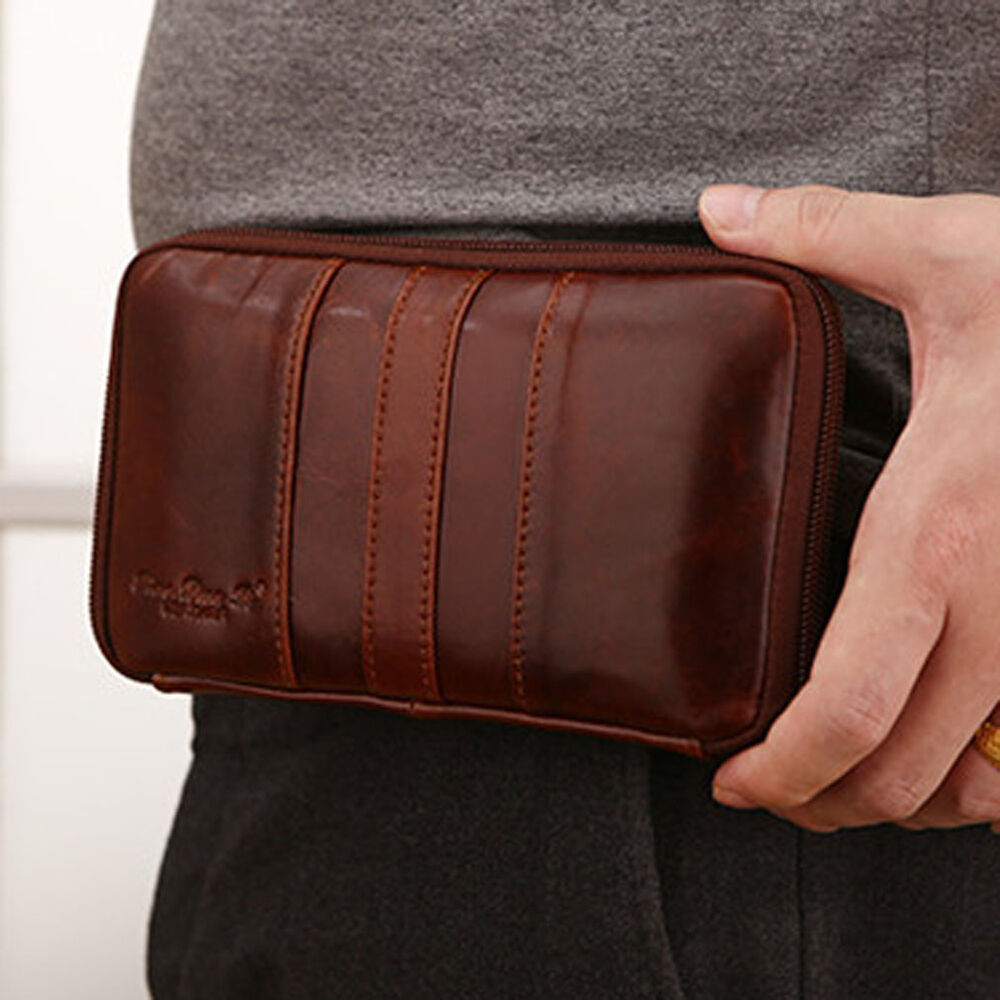 genuine leather cell phone messenger belt pouch hook