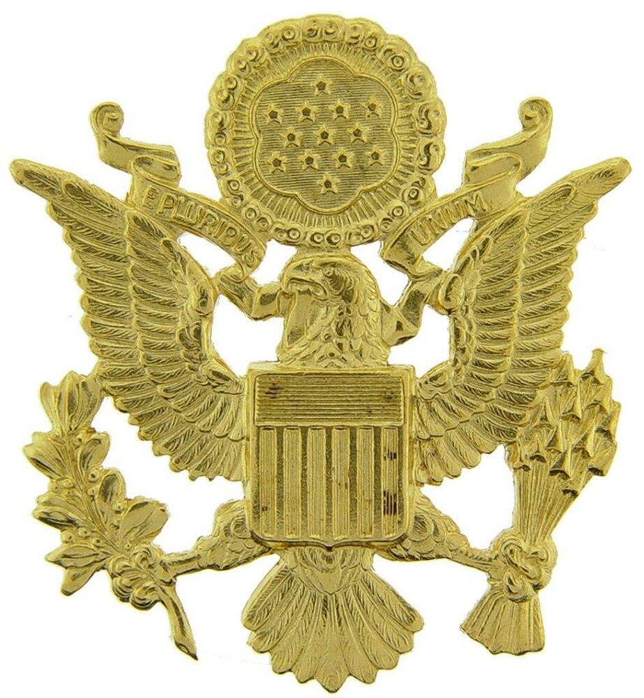 """Eagle Hat Pin: US Army Officer Cap Eagle Badge Insignia Gold 2-1/2"""" Lapel"""