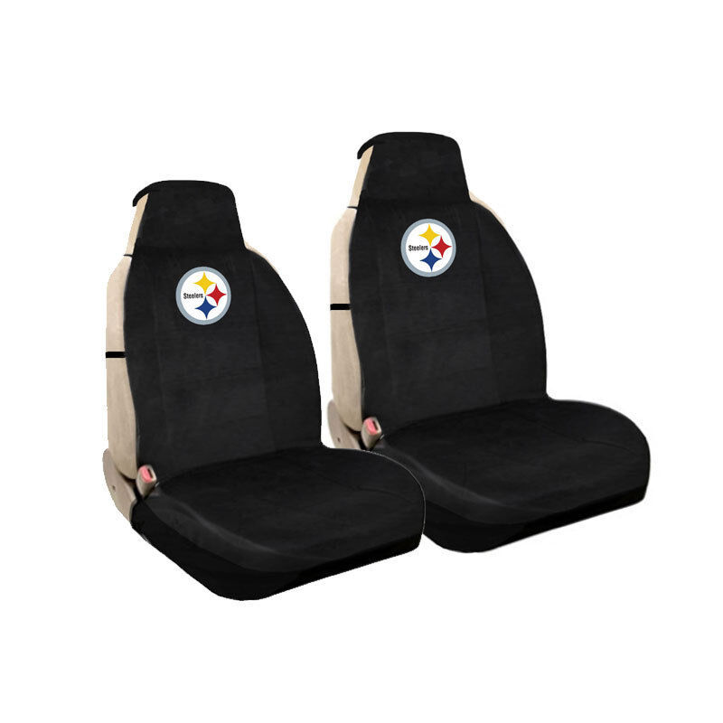 new nfl pittsburgh steelers universal fit car truck front sideless seat covers ebay. Black Bedroom Furniture Sets. Home Design Ideas