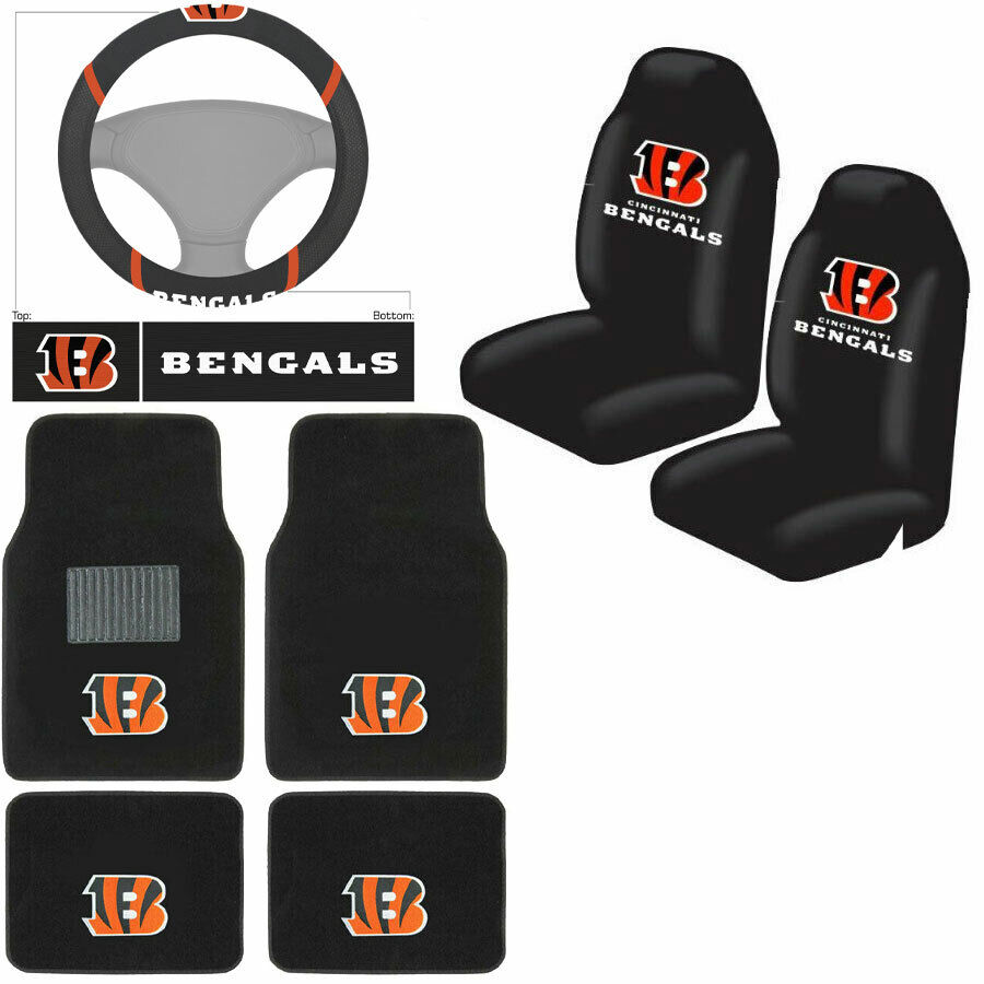 nfl cincinnati bengals car truck seat covers floor mats steering wheel cover ebay. Black Bedroom Furniture Sets. Home Design Ideas