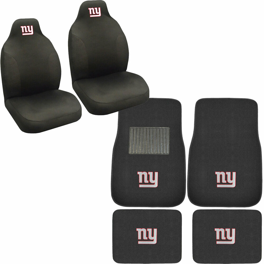 New Nfl New York Giants Car Truck Seat Covers Amp Carpet Floor Mats Set Ebay