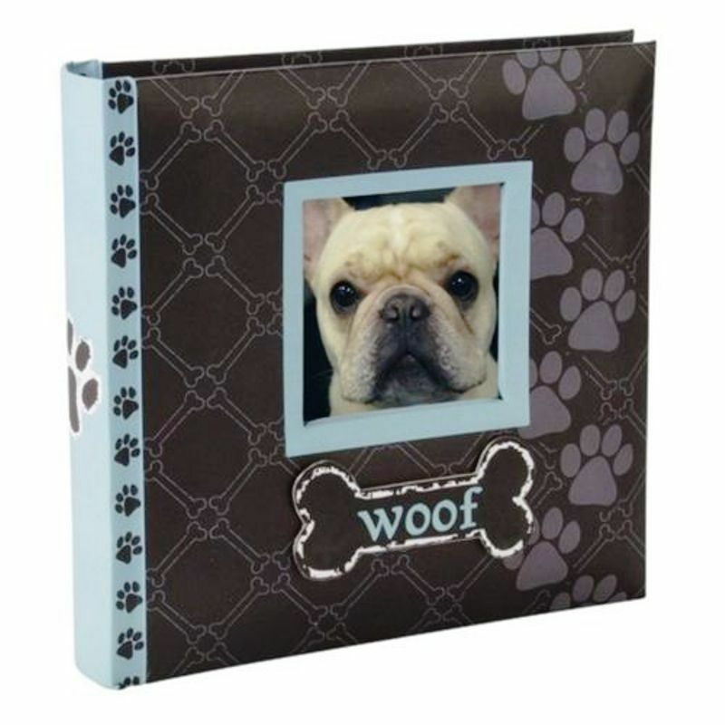 photo album woof dog picture book malden blue brown holds 80 photos 4x6 ebay. Black Bedroom Furniture Sets. Home Design Ideas