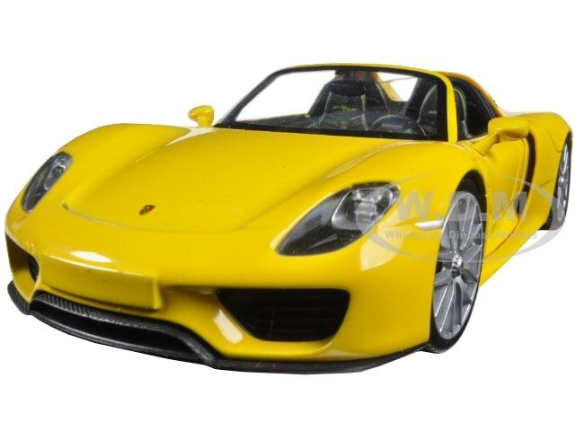 porsche 918 spyder yellow open roof 1 24 diecast car model by welly 24055 ebay. Black Bedroom Furniture Sets. Home Design Ideas