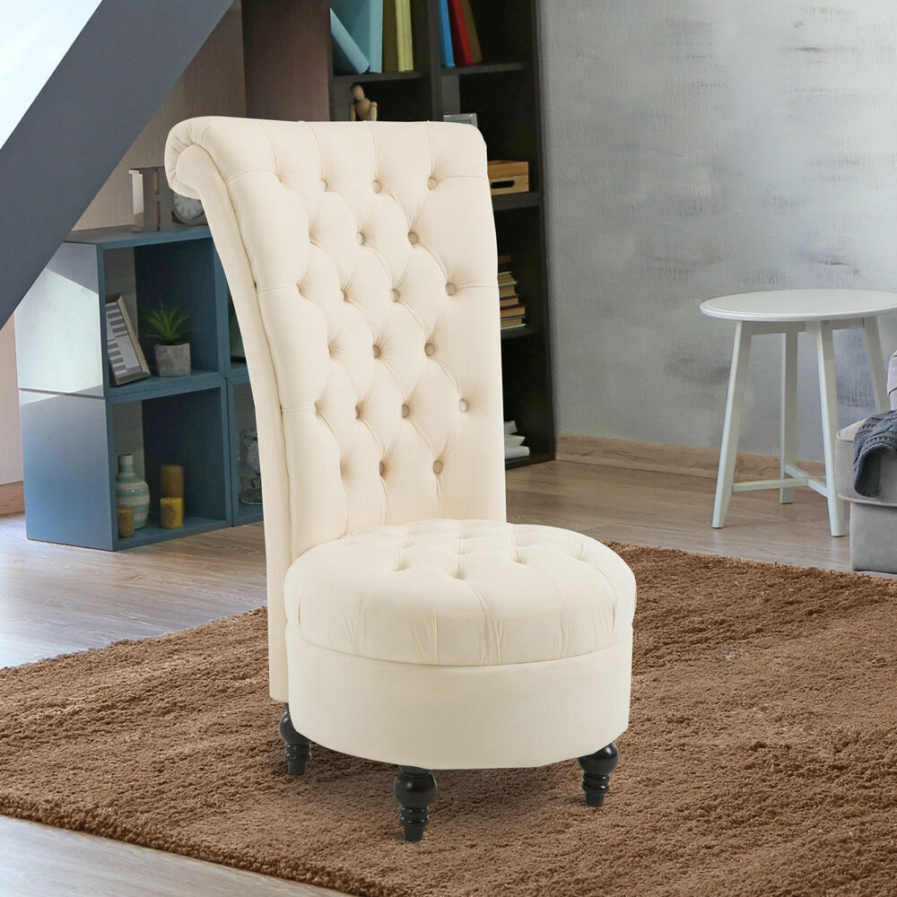 Homcom High Back Tufted Armless Chair Accent Retro Living Room Seat Furniture 603161409769 Ebay