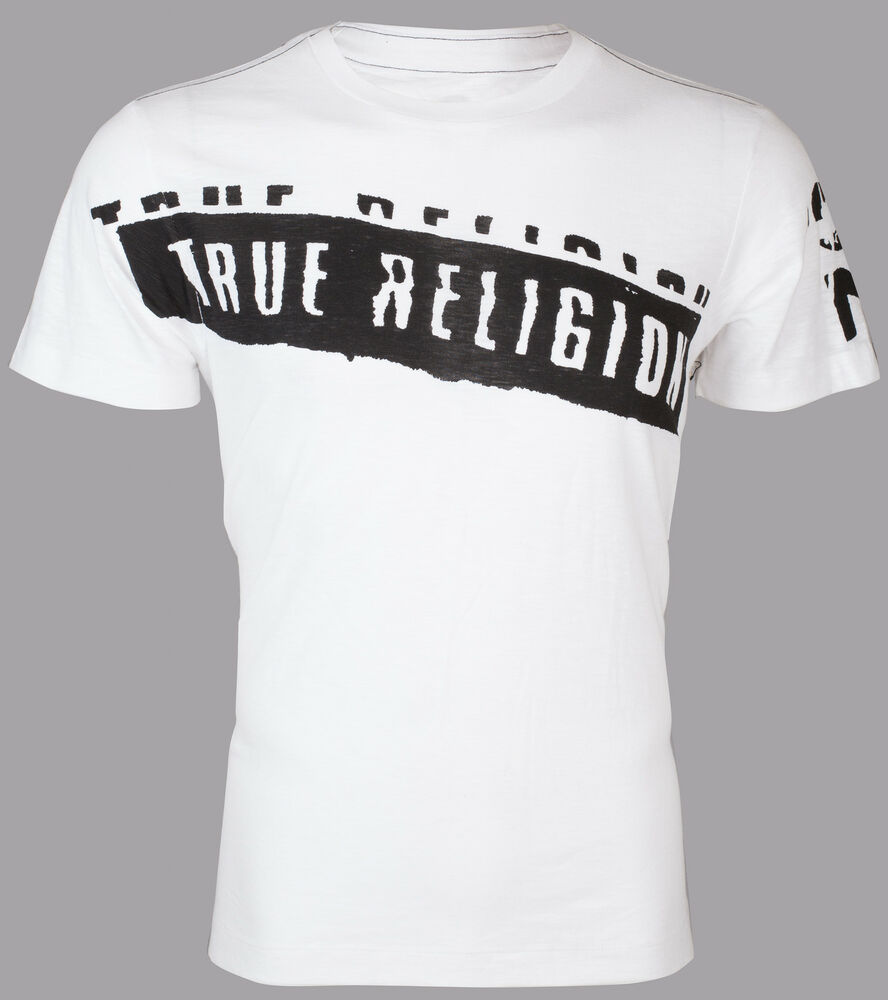 True religion mens t shirt stencel graphic white with for T shirt graphic printing