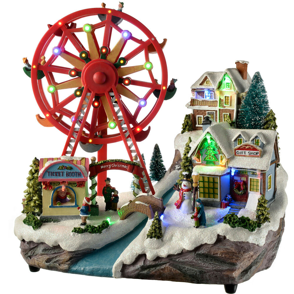 36cm pre lit led animated village rotating ferris wheel for Animation decoration noel