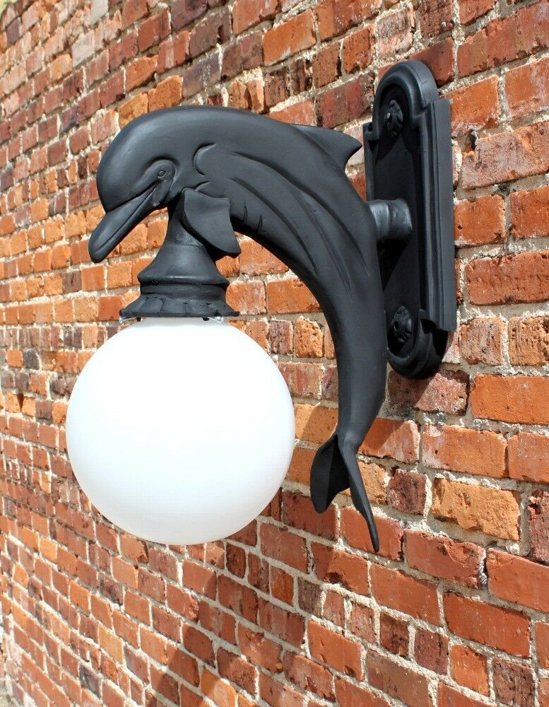 Wall Mounted Dolphin Sconce Light Indoor Outdoor Metal