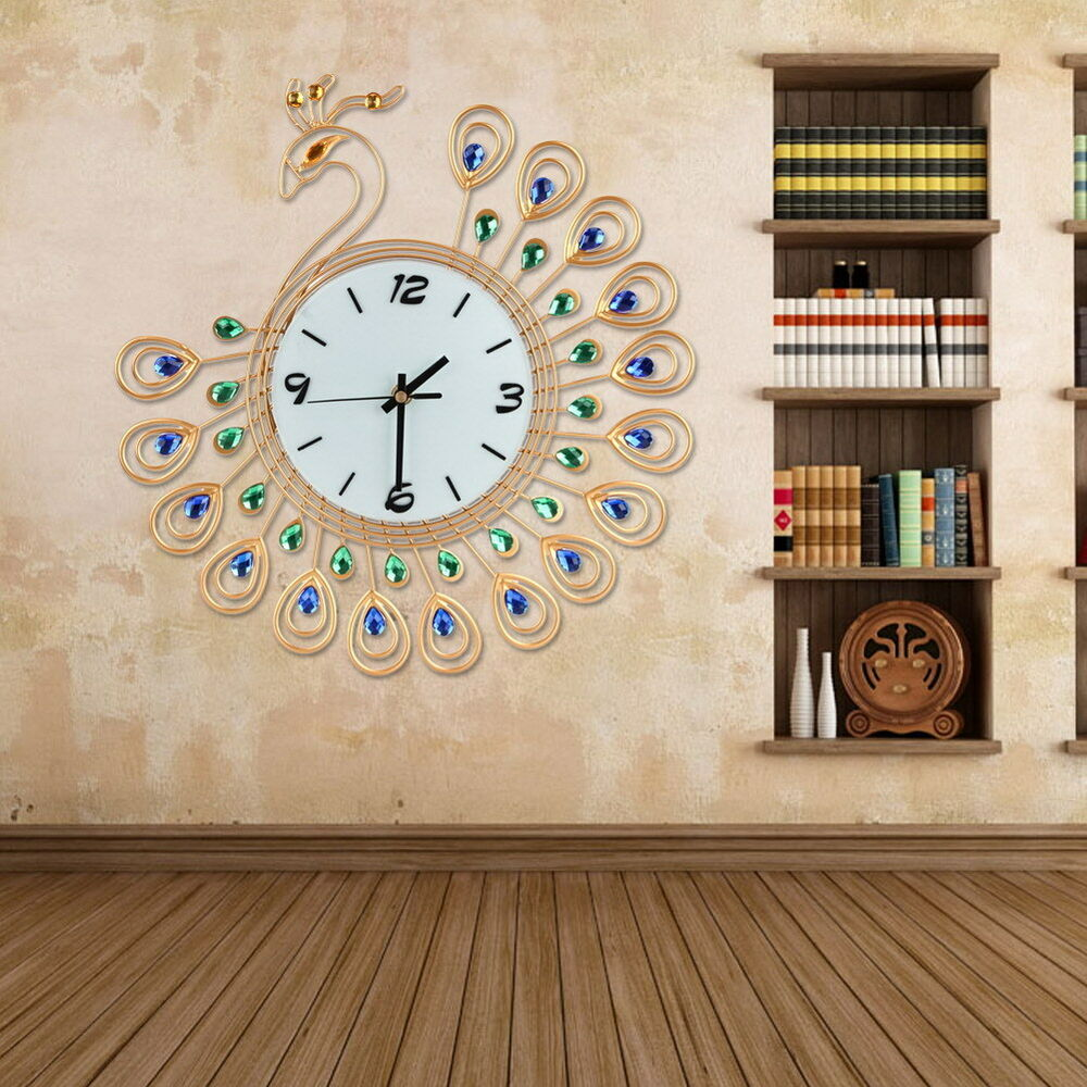 Large Peacock Wall Clock Decor Art Modern Living Room Gold