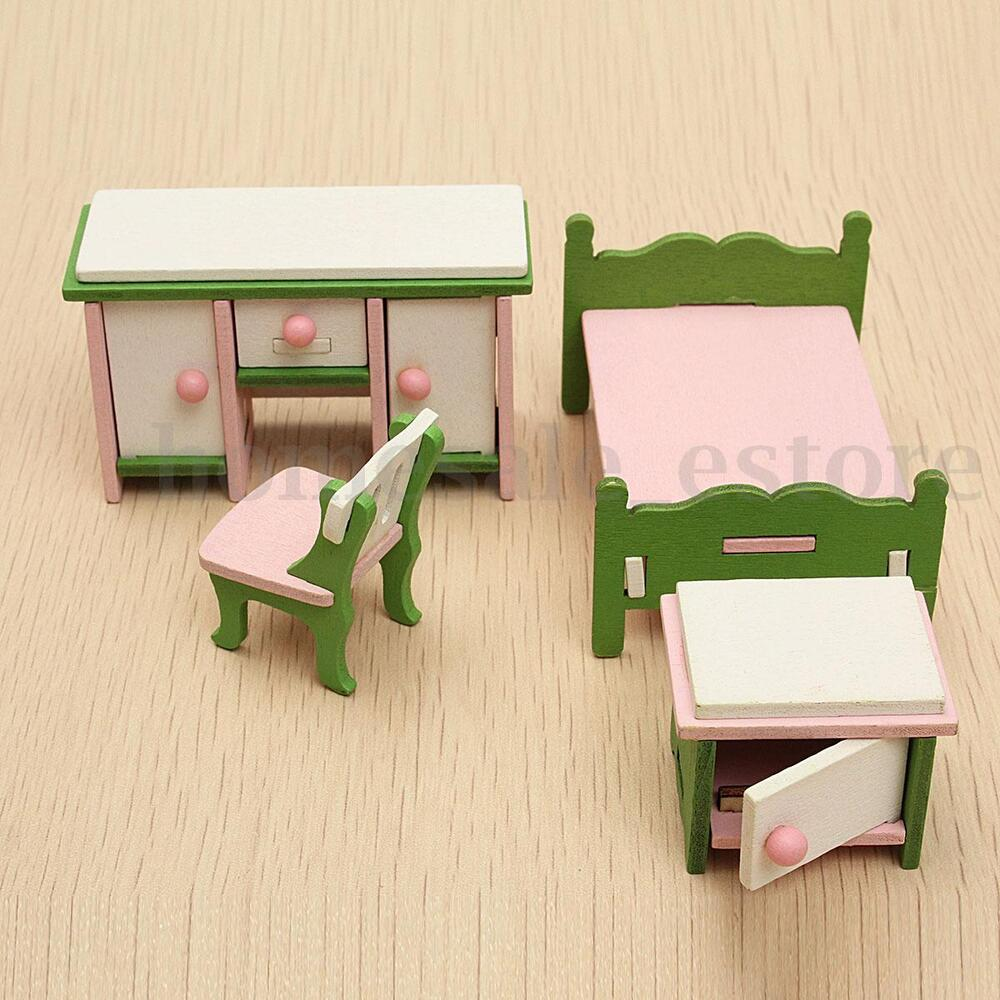 Kids Bedroom Furniture Kids Wooden Toys Online: Doll House Miniature Bedroom Wooden Furniture Set Kids
