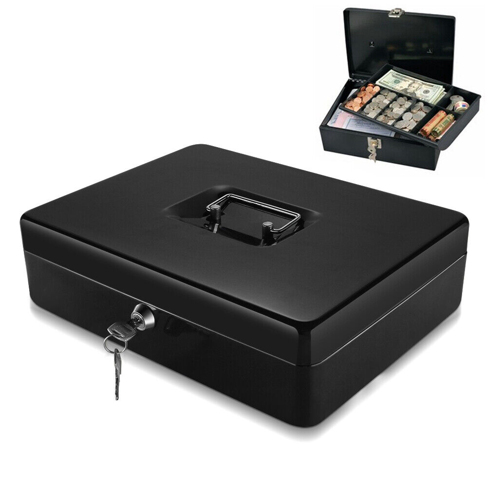 Cash Box With Money Tray Coin Slot Security Lock Box W
