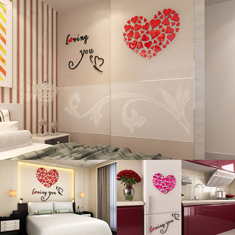 3d removable love heart mirror wall sticker decal art mural home decor diy ebay - Wall decor mirror home accents ...