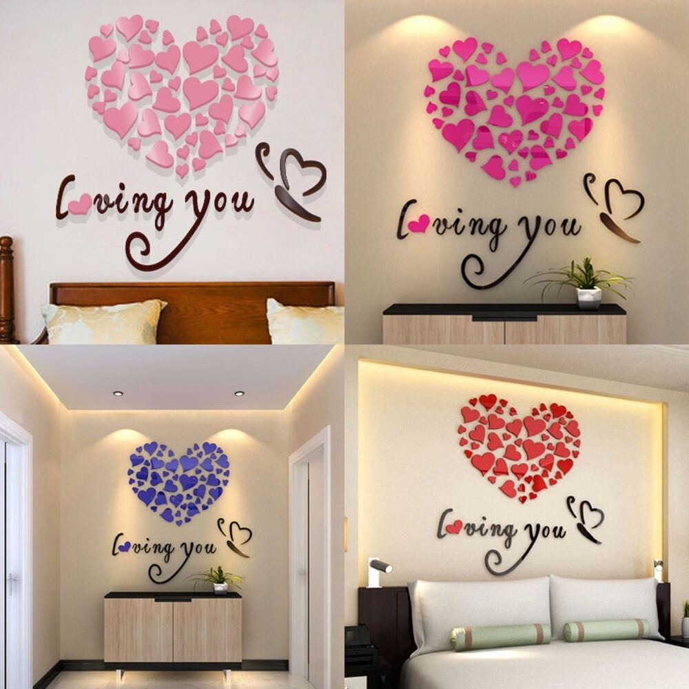 Diy 3d mirror acrylic wall stickers love heart home for Home decor 3d stickers