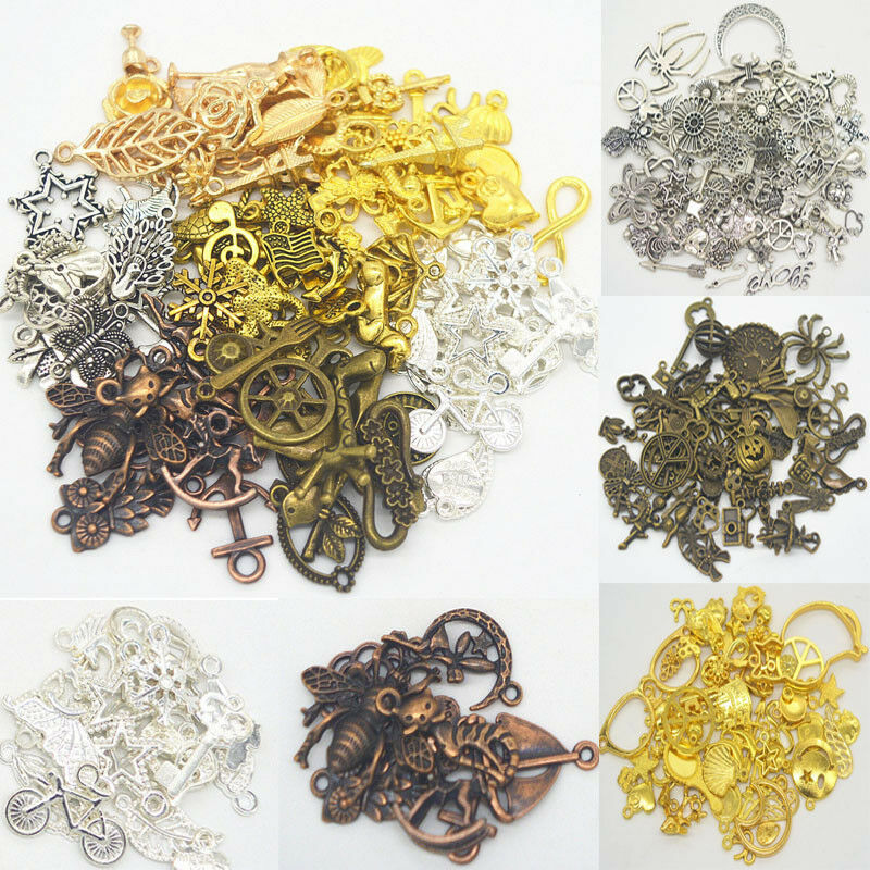 100 grams mix silver gold bronze alloy pendants fashion for Mixture of gold and silver