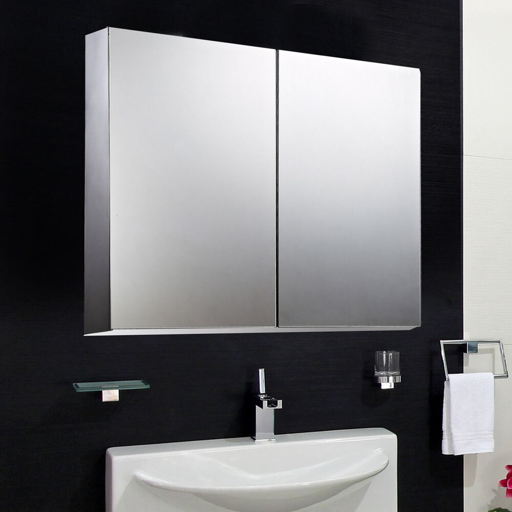 homcom 22 wall mount mirrored bathroom medicine cabinet storage