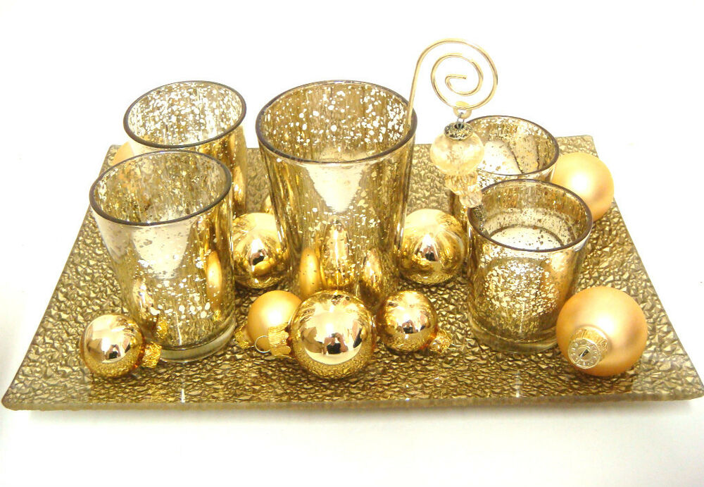 dekoschale m windlicht teelichter christbaumkugeln gold glas weihnachtsdeko top ebay. Black Bedroom Furniture Sets. Home Design Ideas