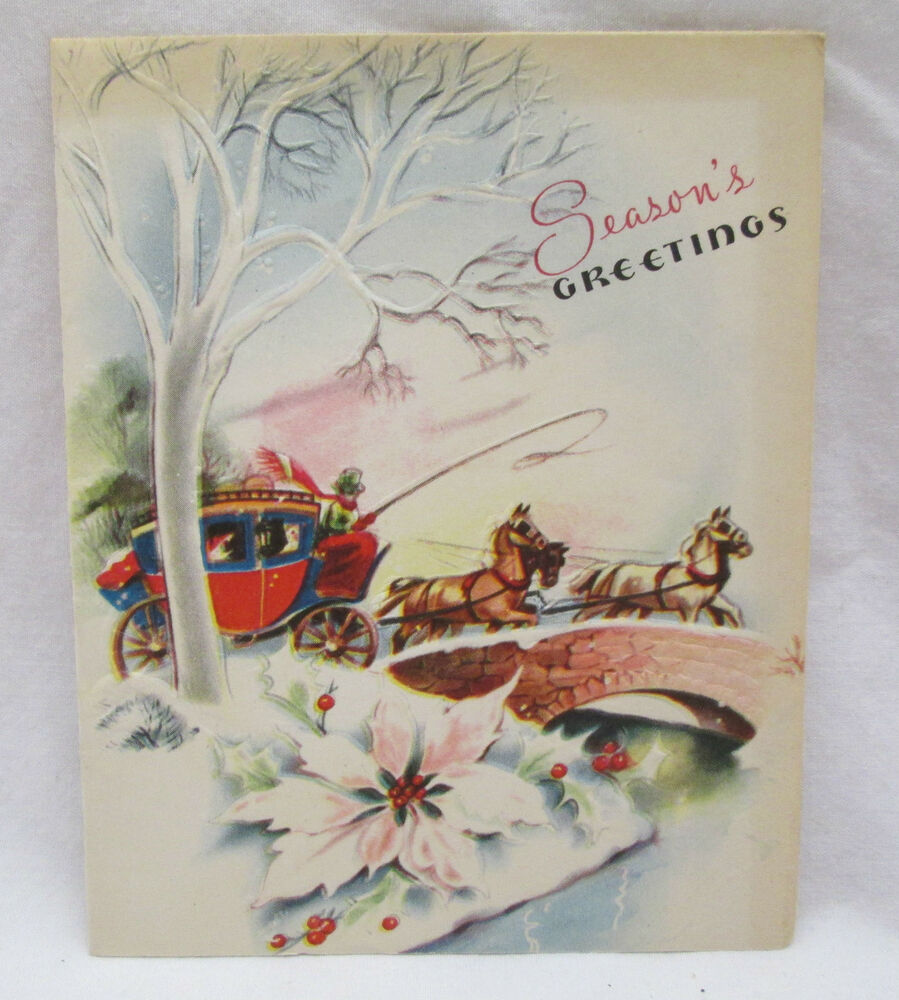 Vintage Christmas Greeting Card 1948 Horses Stage Coach An