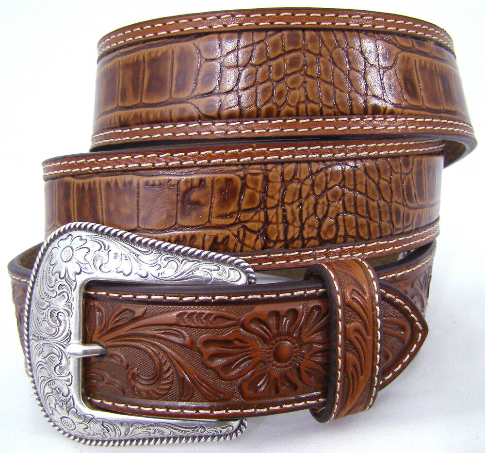 nocona belts s western accessories gator tooled brown