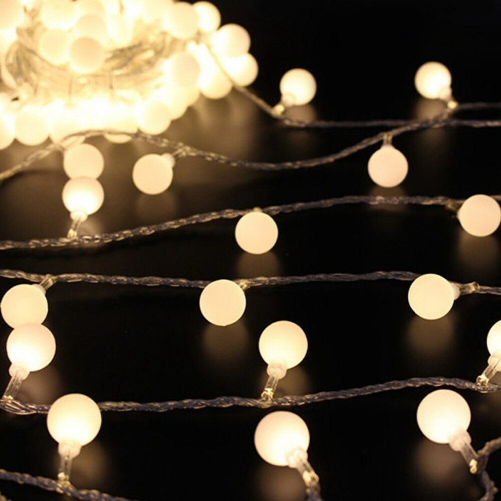Outdoor String Lights White: 5M/ 16.4Ft Globe Ball Patio String Lights Fairy Warm White