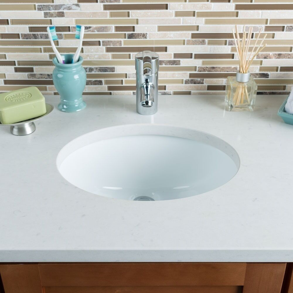 Hahn Ceramic Small Oval Bowl Undermount White Bathroom ...