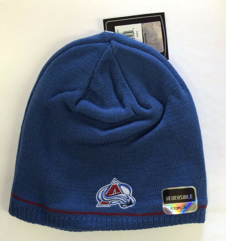 98d873baef4 Details about Colorado Avalanche Knit Beanie Toque Winter Hat Skull Cap  Center Ice Reversible