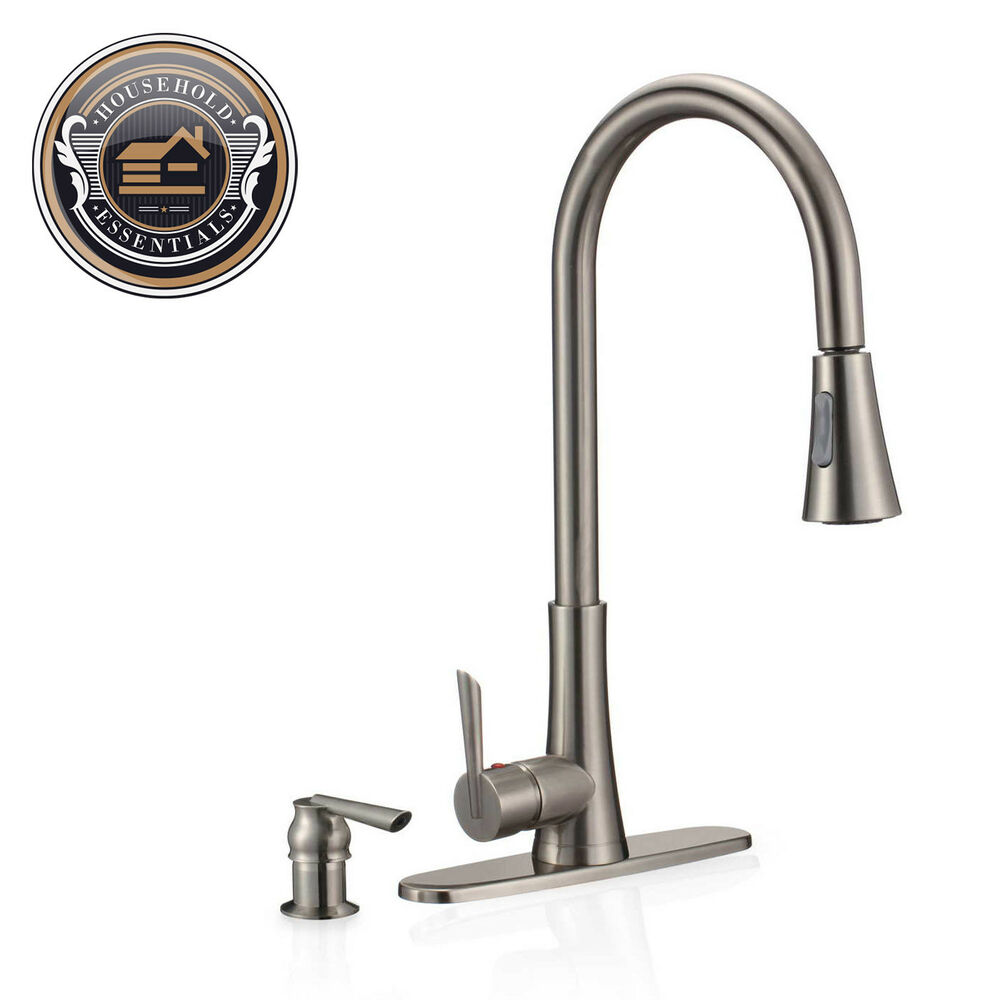 "19"" Brushed Nickel Pull Down Kitchen Faucet With Sprayer"