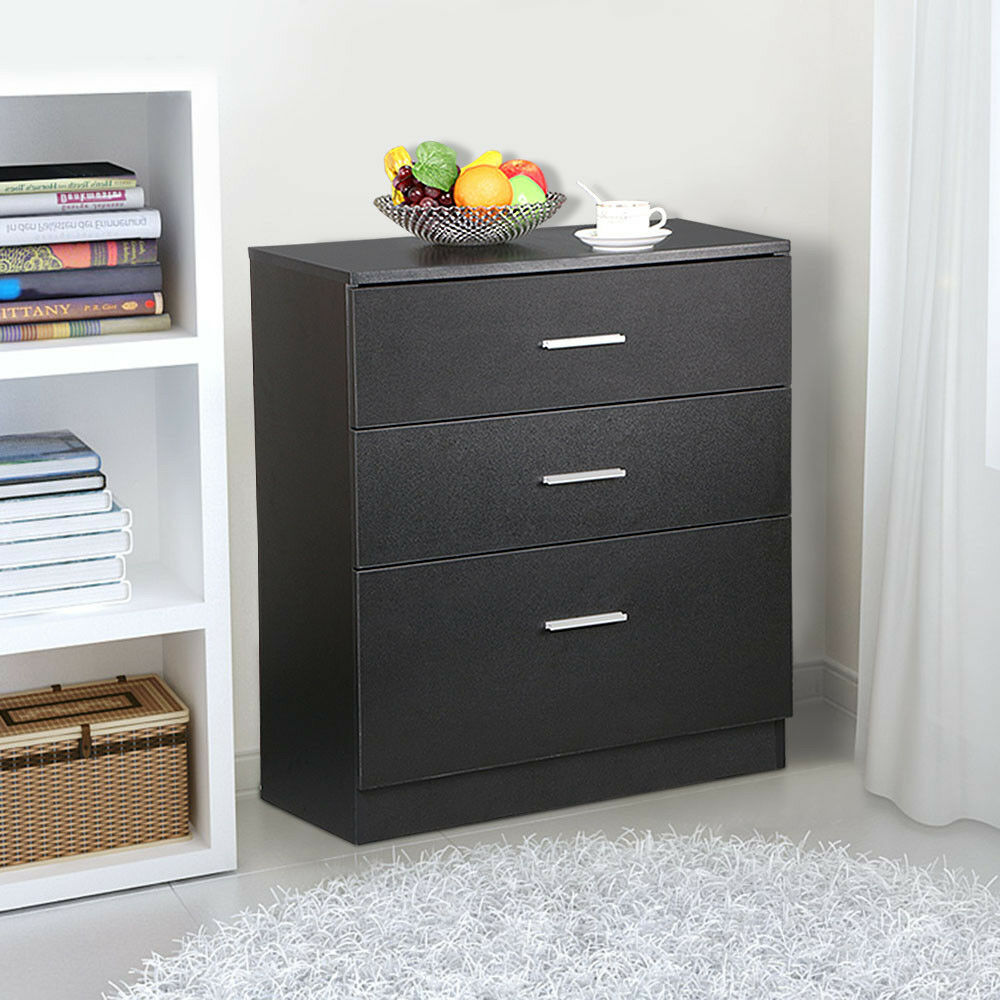 Black wood 3 drawer file storage cabinet office filing for Cupboard and drawers