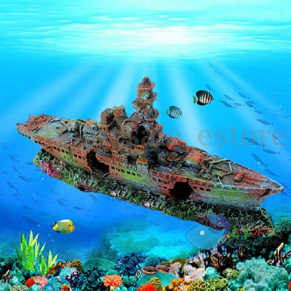 Aquarium destroyer navy war boat ship wreck fish tank cave for Sunken ship for fish tank